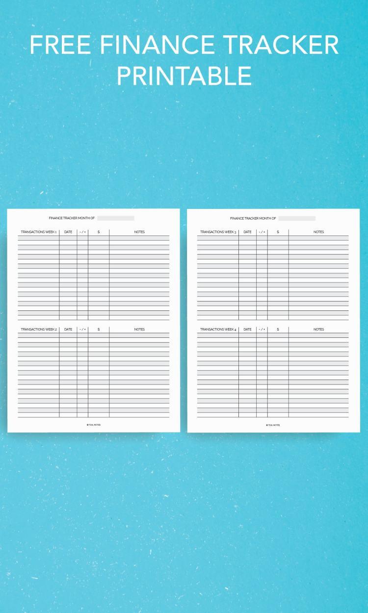 Free finance tracker printable
