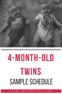 4-month-old twins sample schedule.  See how real twins utilized an eat play sleep schedule at 4 months of age. #twins #4monthsold #4months #eatplaysleep #eatwakesleep #schedule #sample #babywise Team-Cartwright.com