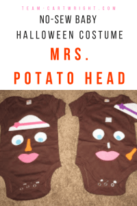 Looking for a quick and easy Halloween costume for your baby? Try this no-sew Mrs. Potato Head costume!  Super easy and the pieces can actually be moved around! #Halloween #costume #baby #nosew #easy #DIY #fast Team-Cartwright.com