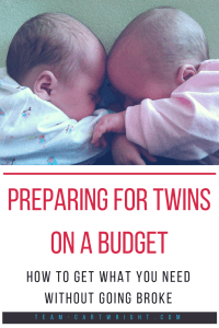 Twins are so not two for the price of one. It's two for the price of two. But there are ways to save money and you don't have to break the bank getting ready. Here is how to prepare for twins on a budget, everything you need for 1K or less. #twins #gear #supplies #twingear #twinessentials #newborntwin #twinbed #twincrib Team-Cartwright.com