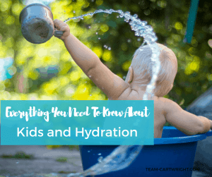 Kid Hydration Tips. Everything you need to know about how much water babies through kids need, tips to help them drink enough, and signs of dehydration. #babyhydration #waterforbabies #kidhydration #dehydrationsigns #waterhacks #babysafety #kidsafety Team-Cartwright.com