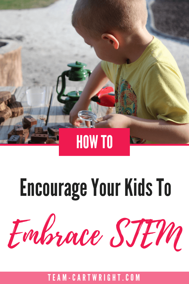 Want to know how to encourage your children to embrace STEM? Embrace it yourself.  You don't have to become a scientist, but be willing to learn and try.  Learn how to change your attitude and help your kids succeed.  #STEM #STEMForKids #Science #Attitudes #PositiveParenting #LearnAtHome #STEMEducation Team-Cartwright.com