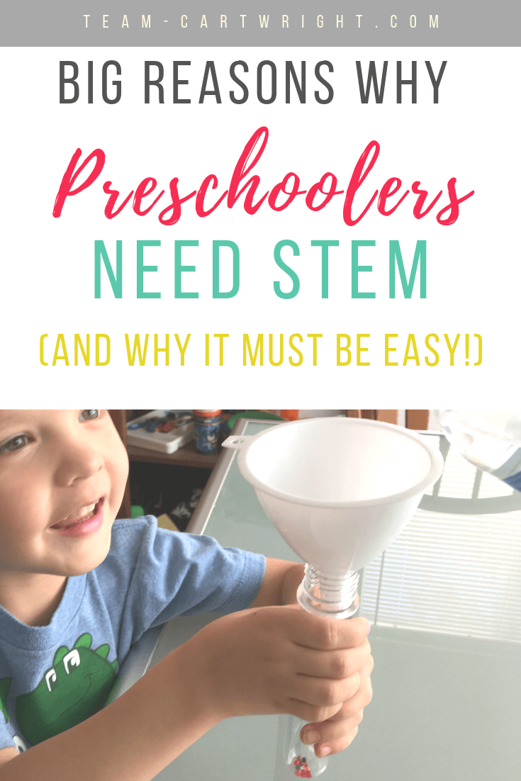 picture of a toddler doing science with text overlay: Big Reasons Why Preschoolers Need STEM (and why it must be easy!)