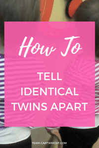 Are you expecting identical twins? Worried you won't be able to tell them apart. You will. And here are some tips to help you out. Identical twins | newborn twins | expecting twins | #pregnant #twins #identical #newborn #identification Team-Cartwright.com