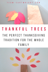 Looking for a fun and easy Thanksgiving family tradition? Make a thankful tree! This simple activity will teach your children about gratitude and help them have a thankful heart. #thanksgiving #thanksgivingtradition #familytradition #thankfultree #easythanksgivingactivity #toddlers #preschoolers #thankfulbooks #thanksgivingbooks Team-Cartwright.com