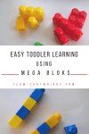 Use Mega Bloks to create fun and easy learning activities for your toddler and preschooler! Practice colors, sorting, and counting with ease. Grab a dry erase marker and practice letters and math! #preschoollearning #toddlerlearning #learningactivity #DIYlearning #homeschool #easylearning #countingactivity #coloractivity #numberactivity Team-Cartwright.com