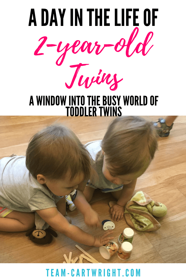 Want to know what life with two-year-old twins is like? Looking for sample schedules to help organize your day with twin? Here is a day in the life of toddler twins. Busy, but organized and fun! #twins #schedules #babywise #toddlertwins #2yearold #sampleschedule #reallife #momhacks Team-Cartwright.com