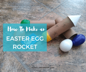 Easter Egg Rockets! They are very easy to make and super fun. You need plastic Easter Eggs and a toilet paper tube! Enjoy! Preschool Science Activity | Easter Science for kids | Easy Easter STEM | Easter learning activity #STEM #science #activity #Easter #project #preschool #toddler #kids Team-Cartwright.com