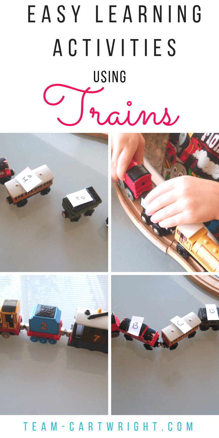 Learning Activities Using Trains!  Do you have a little one that loves trains? Use it!  Here are simple and fun learning activities to help with math, letter learning, and number sense.  #numbersense #counting #learningletters #trains #thomasthetrain #learningactivity #toddlerlearning #preschoollearning #preschool Team-Cartwright.com
