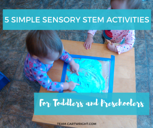 Toddlers and preschoolers love science projects! And they can be easy and relatively mess free. Here are 5 simple sensory stem activities for toddlers and preschoolers. Sensory Activities | Science for toddlers | Science for preschoolers | Sensory STEM projects #sensory #activity #STEM #science #project #toddler #simple #preschooler Team-Cartwright.com