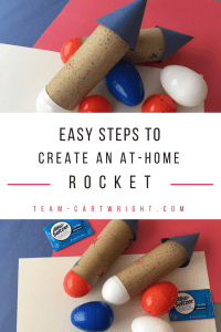 Celebrate the 4th of July with STEM! Make easy and safe rockets, perfect for toddlers and preschoolers. #preschoolstem #fourthofjulycraft #fourthofjulySTEM #4thofjulyscience #July4thcraft #toddlerSTEAM #preschoolSTEAM #homeschoolSTEAM #holidayscience #summerscience #toddlerlearning #preschoollearningSTEM Team-Cartwright.com