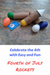 Add a fun and easy bang to your Fourth of July celebration! Easy to make rockets for kids. Grab and alka seltzer tablet, a toilet paper tube, and a plastic Easter Egg and you are ready to go! #FourthofJuly #4thofJuly #summerscience #4thofJulyactivity #kidcraft #fourthofjulyactivity #fourthofjulySTEM 4thofjulySTEM #4thofjulyscienceactivity #july4thactivity #holidaycraft #holidayscience #holidaySTEAM #artandsciencecraft #toddlerlearning #preschoollearning #fourthofjulykids #july4thkids #USAcraft #USAscience Team-Cartwright.com