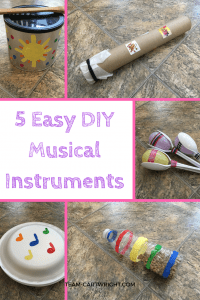 5 Easy DIY musical instruments to make with your children. Kids love music, and learning music helps build STEM skills! Practice counting, learn rhythms, and recognize patterns with these easy to make instruments. This is perfect for babies, toddlers, and preschoolers. Toddler Activity | Preschool Activity | Music Activity for kids | Music and STEM craft #music #STEM #activity #preschool #toddler #baby #kidcraft #musiccraft #STEMactivity Team-Cartwright.com