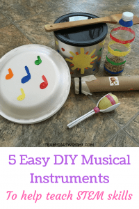 5 Easy DIY musical instruments to make with your children. Looking for a fun activity for your baby and toddler? Kids love music, and learning music helps build STEM skills! Practice counting, learn rhythms, and recognize patterns with these easy to make instruments. Toddler Activity | Preschool Activity | Music Activity for kids | Music and STEM craft #music #STEM #activity #preschool #toddler #baby #kidcraft #musiccraft #STEMactivity #familyfun #sibling Team-Cartwright.com