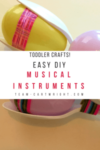 Easy DIY Musical Instruments for Kids! Simple and fun crafts for toddlers and preschoolers.  Make music and work on math skills! #DIY #instruments #music #toddler #preschool #learning #activity #math #counting #easy Team-Cartwright.com