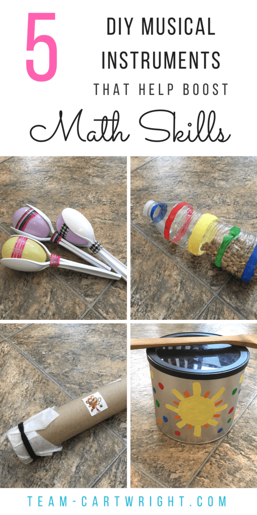 5 DIY musical instruments that boost math skills. Learn counting and rhythm skills while enjoying an easy and fun art project. Music boosts math and science skills, so give these a try! #music #craft #art #STEAM #math #counting #number #sense #rhythm #STEM #preschooler #toddler #learning #activity Team-Cartwright.com