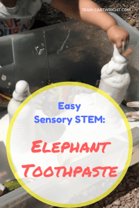 Looking for a fun sensory STEM project to really wow your kids? Try elephant toothpaste. Easy, fun, and safe to play with. This sensory eruption will impress your children and grab their attention. Plus they will love digging their hands into the foam! STEM with kids | Preschool Learning Activity | Easy Science Projects #STEM #science #easy #sensoryactivity #safe #preschool #toddler #learningactivity #scienceproject Team-Cartwright.com
