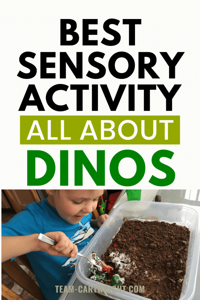 Best sensory activity all about dinosaurs with picture of child doing dino dig