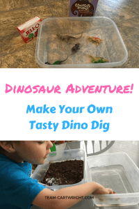 Dino lovers will adore this sensory STEM project- a tasty archaeological dig! Sensory science for toddlers and preschoolers. #STEMactivity #sensoryactivity #toddlerlearning #preschoolerlearning #homeschool #siblingactivity Team-Cartwright.com