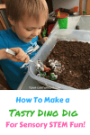 How To Make a Tasty Dino Dig for Sensory STEM Fun. Simple Archaeological dig for kids using food. Perfect science project for toddlers, preschoolers, and kids. #STEMactivity #kidcraft #scienceproject #toddlerlearning #preschoollearning #dinosauractivity #dinobirthday Team-Cartwright.com