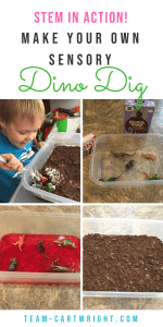 Create a tasty archaeological dig for your dinosaur lover! This sensory experience teaches about dinosaurs and encourages the scientific method and tastes yummy! #dinosaur #sensory #science #activity #STEM #kids #preschool #toddler Team-Cartwright.com