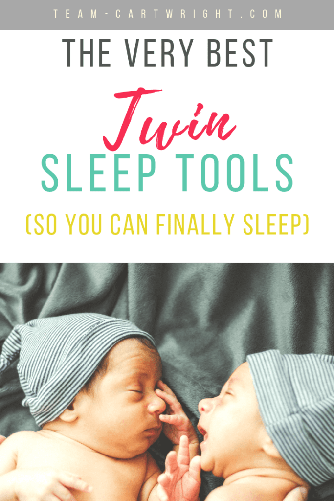 picture of sleeping baby twins with blue hats and text overlay: The Very Best Twin Sleep Tools (So You Can Finally Sleep)