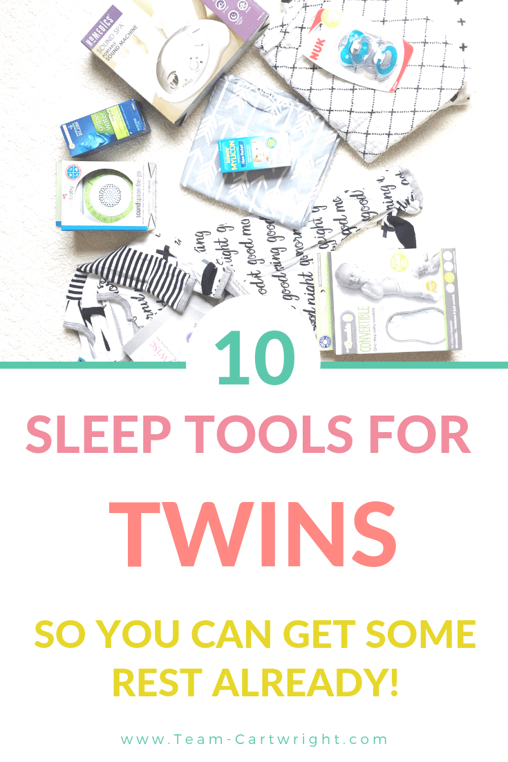 picture of sleep tool collage including sound machine, sleepers, and swaddles. Text overlay: 10 Sleep Tools for Twins So You Can Get some Rest Already!