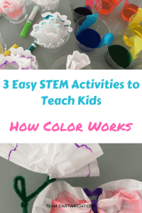 3 Easy STEM activities to teach kids about color. Learn about rainbows, how colors mix, and create an art project with chromatography. #colorscience #colorchemistry #toddlerSTEM #preschoolSTEM #easyscienceactivity #STEAMactivity #artandscience #summerscience #homeschoolscience #rainbowscienceactivity #rainbowart Team-Cartwright.com
