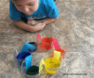 Color Chemistry! Use a simple color wheel to demonstrate primary colors, secondary colors, and color mixing. #colorchemistry #kidstem #scienceactivity #preschoolscience #toddlerscience #preschoolSTEM #toddlerSTEM #summerlearning #homeschool #kidcraft #colorproject Team-Cartwright.com