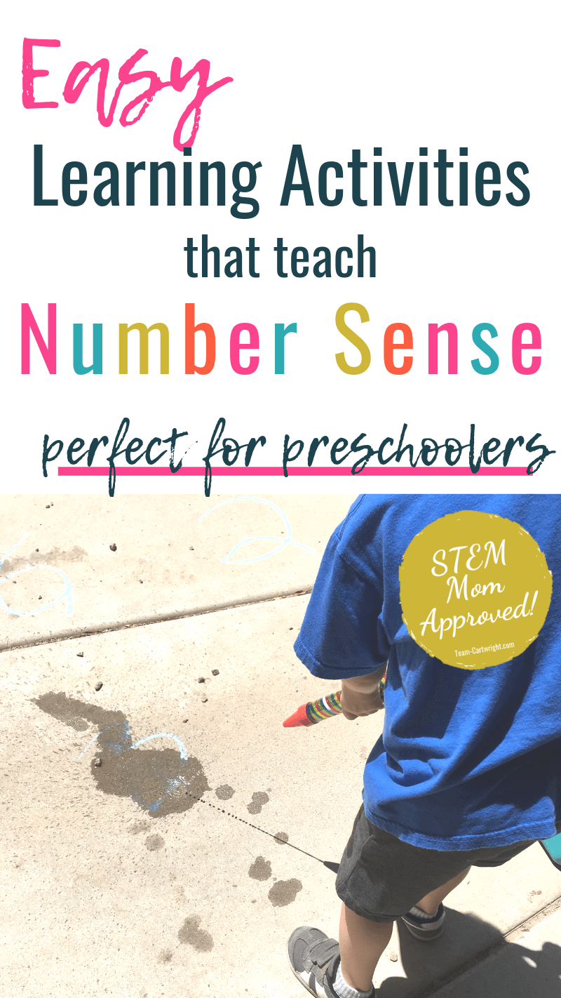 easy learning activities that teach number sense perfect for preschoolers with picture of child playing number sense game