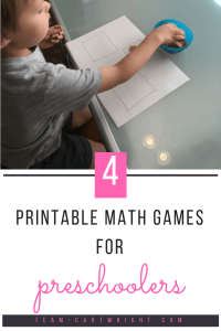 Learning number sense starts early! Here are 4 printable math games to work on counting and number sense with your preschooler. #learning #activity #preschool #toddler #number #sense #math #counting #games #printable Team-Cartwright.com