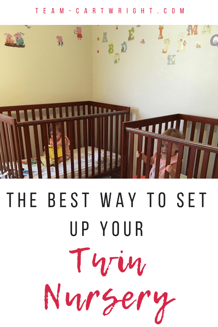 The best way to set up your twin nursery! It can be hard to figure out how to fit two of everything into one room. Here are the safest and most practical arrangements that still look cute! #Twins #TwinNursery #NurseryArrangement #TwinCrib #PackandPlay #bassinet #TwinSleep #TwinPregnancy Team-Cartwright.com