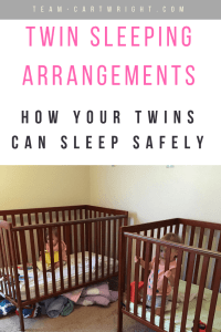 Where should your twins sleep? In the same room? The same crib? What's the safest and what is the most practical? Here are safe and practical sleeping arrangements for your twins. #twins #sleeping #cribs #beds #share #tips Team-Cartwright.com