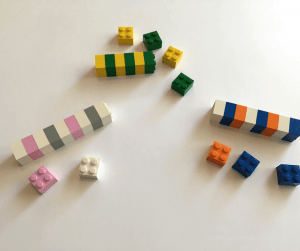 Practice pattern recognition with Legos. Start basic coding concepts with toddlers, preschoolers, and kids. #coding #Lego #pattern #activity #STEM #learning #activity Team-Cartwright.com