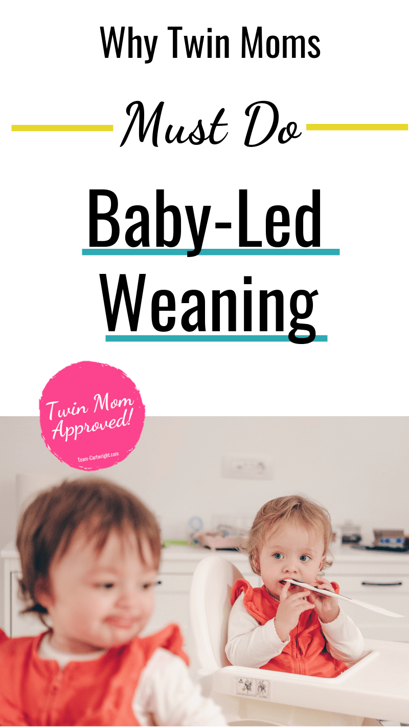 picture of twins in high chairs with text: Why Twin Moms Must Do Baby-Led Weaning