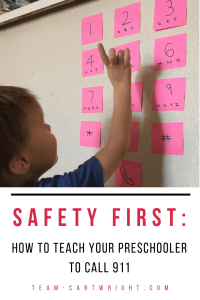 Do you have a landline? We don't.  Does your child know how to use your cell phone to call 911?  If not, the time to start teaching them is now.  Here are tips and games to play to help your preschooler learn to call 911 in an emergency.  #911 #emergency #safety #Preschooler #preschoolsafety #toddlersafety #toddleremergency #preschoolemergency #call911 Team-Cartwright.com