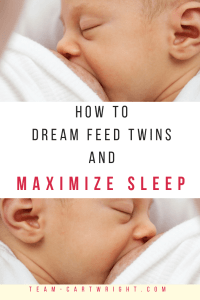 Twin moms are tired, and they need sleep. Here is how to help your twins sleep longer at night and get more sleep yourself. The dream feed will help. #twins #sleep #tips #dream #feed #babywise #night #breastfeeding Team-Cartwright.com
