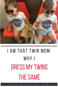 I am that twin mom: Why I dress my twins the same. I have very good reasons for it. And you can dress your twins the same while recognizing their individuality. Here is why I dress my twins alike. #twins #individuality #matching #clothing #toddler #baby #identical #fraternal Team-Cartwright.com