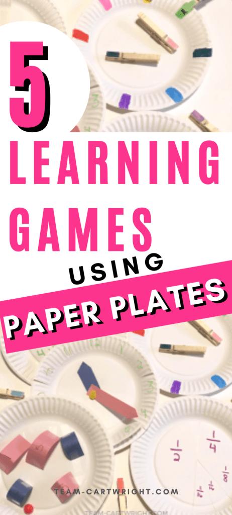 learning games using paper plates for toddler preschool kindergarten