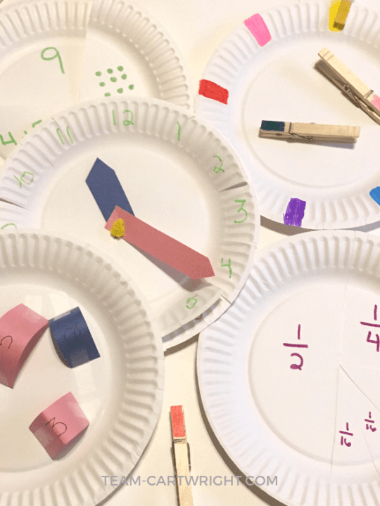 5 easy and fun learning activities for preschoolers and toddlers using paper plates! Practice counting, number sense, fractions, colors, focus, and perseverance. Oh, and learn how to tell time! #learning #activities #preschool #toddler #easy #games #numbers #counting #fractions #DIY #crafts Team-Cartwright.com