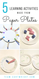 You don't need fancy toys to help your children learn. Here are 5 fun and easy learning activities using paper plates! Work on colors, counting, number sense, fractions, telling time, and more! #learning #activities #preschooler #toddler #math #counting #colors #number #sense #tell #time #crafts Team-Cartwright.com