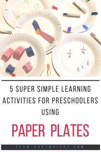 5 super simple learning activities for preschoolers using paper plates! Work on colors, counting, number sense, math, telling time, and more with these simple and fun games. #learning #activity #simple #easy #games #crafts #preschool #toddler #math #counting #colors #numbers #time Team-Cartwright.com
