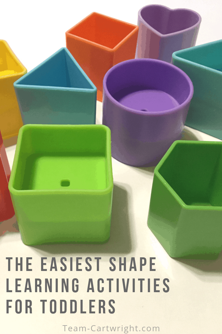 The easiest shape learning activities for toddlers and preschoolers you will find. Low effort, high reward. Work on shapes with your child and learn why this is so important. (They help with reading skills!) #Shapes #ShapeActivities #ToddlerLearningActivities #PreschoolLearningActivities Team-Cartwright.com