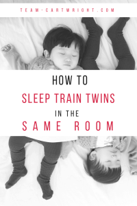 How to sleep train twins in the same room. Here are the best tips to get your twins to sleep through the night while sharing a room. #twins #sleep #training #night #nap #babywise #tips #hacks #baby Team-Cartwright.com