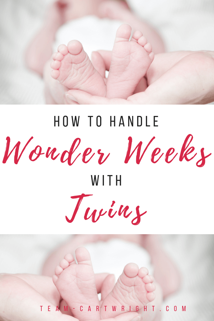 Do Wonder Weeks apply to twins? What do you do if they hit leaps at different times?  Will the crying ever stop? Learn how to get through the wonder weeks with twins. #wonderweeks #twins #leaps #fussy #baby #newborn #twinleaps #development #milestones Team-Cartwright.com
