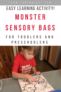 Monster sensory bags for toddlers and preschoolers! Make an easy and fun sensory learning experience for your children. #sensoryactivity #sensorybag #learningactivity #toddler #preschool #learning #game Team-Cartwright.com