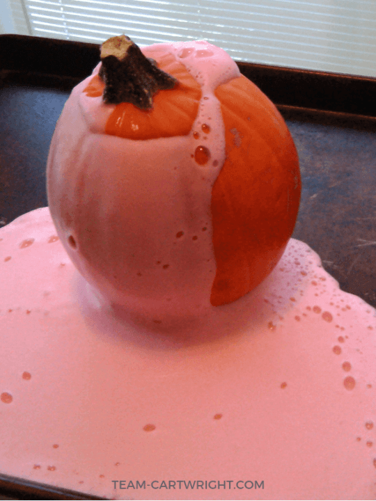 Small pumpkin with red foam coming out of the top.