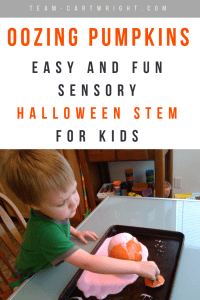 Preschool boy playing with red foam from a pumpkin with text overlay 'Easy and fun sensory Halloween STEM for kids'