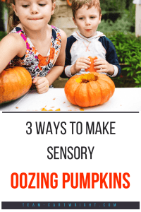 young children carving pumpkins with text overlay '3 ways to make sensory oozing pumpkins'