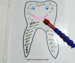 Learn an easy and fun way to encourage your preschooler to brush their teeth! Preschool tooth brushing activities plus a free printable. #preschoollearning #dentalhealth #oralhealth #toothbrushing #toothbrushingactivities #toddler Team-Cartwright.com